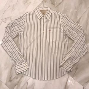 Large Hollister stripe long sleeve button down